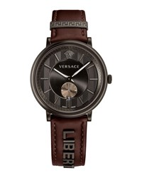 Versace 42Mm Manifesto Watch With Brown Liberty Leather Strap Black