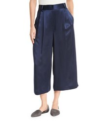 Tibi Satin Cropped Wide Leg Pants Navy