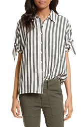 The Great Women's Great. Tie Sleeve Shirt Black And White Stripe