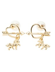 Pixie Market Pony Heart Pearl Back Earrings