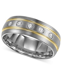Triton Men's Diamond Stripe Wedding Band In Tungsten Carbide 1 6 Ct. T.W.