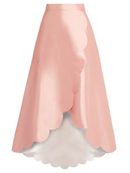 Huishan Zhang Harper Scallop Edged Wool Blend Skirt Pink