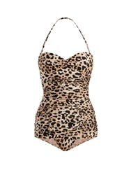 Adriana Degreas X Charlotte Olympia Leopard Print Ruched Swimsuit