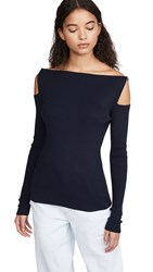 Adeam Shoulder Cut Out Imitation Pearl Knit Top Navy