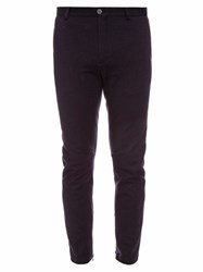 Lanvin Zip Cuff Wool Blend Jersey Biker Trousers Blue