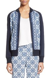 St. John Women's Collection Kali Tile Print Stretch Silk Crepe De Chine Bomber Jacket