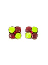 Yves Saint Laurent Vintage Cabochons Earrings Green