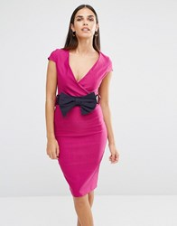 Vesper Cross Front Pencil Dress With Bow Waist Pink