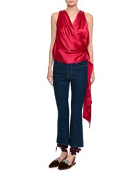 Attico Draped Satin Wrap Top Red