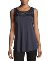 Neiman Marcus Floral Embellished Scoop Neck Tank Navy