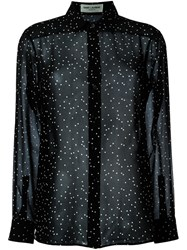 Saint Laurent Sheer Polka Dot Blouse Black