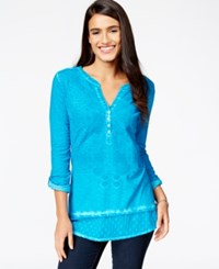 Styleandco. Style And Co. Embroidered Roll Sleeve Top Only At Macy's Teal Gem