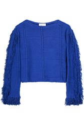 3.1 Phillip Lim Fringed Textured Knit Sweater Bright Blue