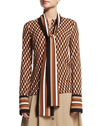 Michael Kors Collection Hexagon Print Silk Georgette Blouse Caramel