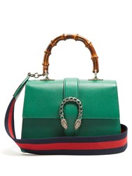 Gucci Dionysus Bamboo Handle Medium Leather Tote Green