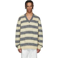 Lanvin Grey And Yellow Striped Wool And Alpaca V Neck Sweater
