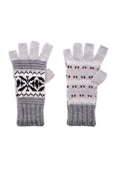 Autumn Cashmere Fairisle Fingerless Gloves Gray