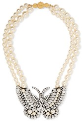 Shourouk Butterfly Gold Tone Faux Pearl And Crystal Necklace Silver