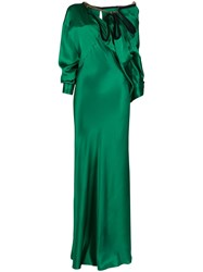 Y Project Ruffled Neck Satin Gown Green