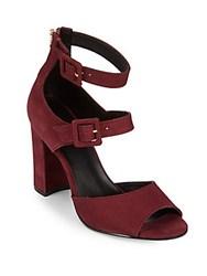 Saks Fifth Avenue Zip Leather Slingback Pumps Burgundy