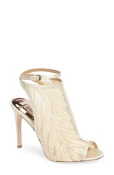 Badgley Mischka Women's Blakely Sequin Illusion Sandal Ivory Mesh Fabric