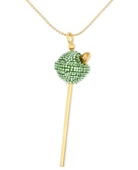 Sis By Simone I Smith 18K Gold Over Sterling Silver Necklace Medium Lime Green Crystal Lollipop Pendant