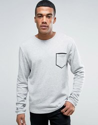 Solid Sweatshirt With Pocket Taping Grey