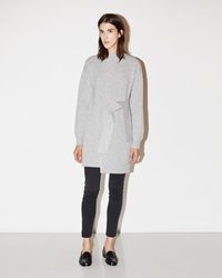 Proenza Schouler Belted Cashmere Sweater Dress Light Grey Melange