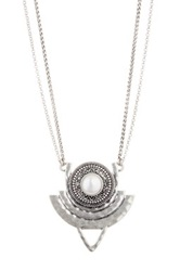 Lucky Brand Freshwater Pearl Tribal Pendant Necklace White