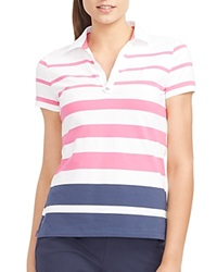 Ralph Lauren Lauren Active Striped Polo Shirt Pink Multi