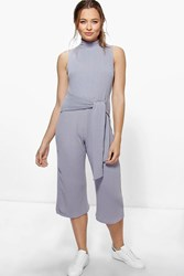 Boohoo Ribbed Culotte High Neck Self Belt Jumpsuit Silver
