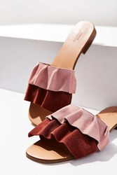 Urban Outfitters Suede Ruffle Slide Rose