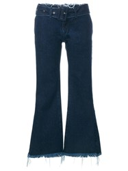 Marques Almeida Marques'almeida Frayed Flared Cropped Jeans Blue