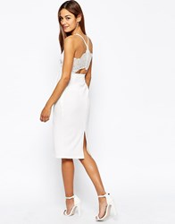 Oh My Love Midi Bodycon Dress With Lace Plunge Neck And Open Lace Back Black