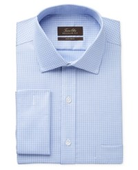 Tasso Elba Men's Classic Fit Non Iron French Cuff Blue End On End Tattersall Dress Shirt Only At Macy's