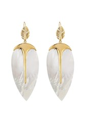 Aurelie Bidermann 18K Yellow Gold Plated Earrings With Mother Of Pearl