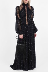 Elie Saab Women S Dot Georgette And Lace Gown Boutique1 Navy