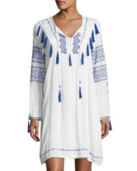 Neiman Marcus Long Sleeve Tie Front Embroidered Dress White Blue