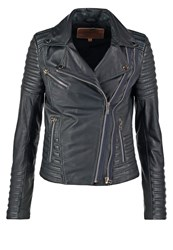 Goosecraft Perfecto Leather Jacket Total Eclipse Dark Blue