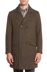 Billy Reid 'Bowery' Double Breasted Wool Coat Brown Navy