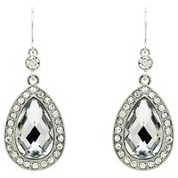 Monet Teardrop Glass Crystal Drop Earrings Silver Clear
