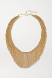 Carolina Bucci Fringe 18 Karat Gold And Silk Necklace