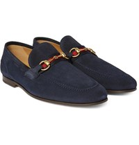Gucci Horsebit Webbing Trimmed Suede Loafers Navy