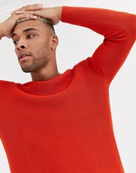 Bershka Jumper In Rust Red