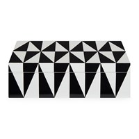 Jonathan Adler Op Art Lidded Rectangular Box Medium Black White