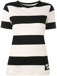 Yohji Yamamoto Striped Short Sleeve T Shirt Women Cotton 2 Black