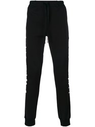 Unravel Project Embroidered Track Pants Men Cotton Polyamide Polyester Spandex Elastane S Black