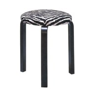 Artek Upholstered Stool 60 With Black Lacquered Legs