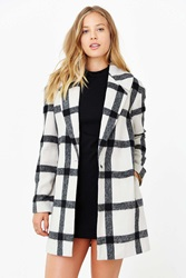 Finders Keepers Plaid Vacate Coat Black And White