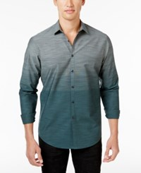 Inc International Concepts Men's Ombre Cotton Shirt Only At Macy's Green